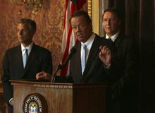 Scott Burns, center, Scott Burns, a former veteran Utah prosecutor who has endorsed Swallow's opponent. (Tribune file photo)