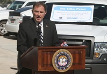 Rick Egan  | The Salt Lake Tribune   Gov. Gary Herbert speaks before signing an order Thursday mandating that all 7,300 state vehicles be turned off after 30 seconds of idling when not in traffic, to help reduce air pollution, at the Multi-Agency Complex.