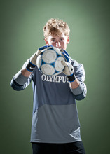 Michael Mangum  |  Special to The Salt Lake Tribune  Olympus senior goalkeeper Ethan Cash is shown in studio on Monday, May 28, 2012. Cash was selected as the Tribune 4A boys soccer MVP.