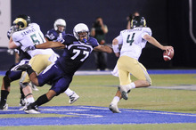Courtesy of Utah State University Granger High School's Al Lapuaho has made a name for himself at Utah State. He is expected to lead the Aggie defensive line this season.