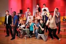 THE GLEE PROJECT -- Episode 201 -- Pictured: (Top row, l to r) Michael Weisman, Charles Lubeck, Blake Jenner, Tyler Ford, (Middle row, l to r) Taryn Douglas, Aylin Bayramuglu, Nellie Veitenheimer, (Bottom row, l to r) Abraham Lim, Mario Bonds, Alyson Stroker, Shanna Henderson, Maxfield Camp, Dani Shay, Lily Mae Harrington -- (Photo by: Tyler Golden/Oxygen Media)
