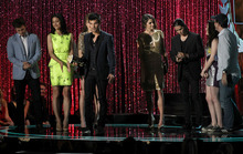 Taylor Lautner, center, and the cast of