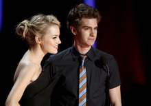 Emma Stone, left, and Andrew Garfield are seen onstage at the MTV Movie Awards on Sunday, June 3, 2012 in Los Angeles. (Photo by Matt Sayles/Invision/AP)