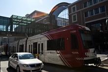 Chris Detrick  |  The Salt Lake Tribune A Utah Transit Authority TRAX train runs through downtown Salt Lake City. Light-rail ridership is up in Utah and nationwide, according to a new report.