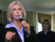 FILE - In this April 30, 2012 file photo, Lilly Ledbetter, left, speaks in Concord, N.H. President Barack Obama and his allies in the Senate pushed Tuesday for a bill that calls for equal pay in the workplace, an election-year effort to merge political appeals to women with the No. 1 concern for all voters: the cash in their wallets on the heels of recession. (AP Photo/Jim Cole, File)