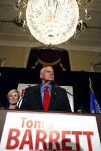 Wisconsin Democratic gubernatorial candidate Tom Barrett delivers his concession speech with his wife, Kris at his side at his election night party Tuesday, June 5, 2012, in Milwaukee. Barrett faced Republican Wisconsin Gov. Scott Walker in a recall election. (AP Photo/Jeffrey Phelps)