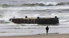 A man looks at the massive dock with Japanese lettering that washed ashore on Agate Beach Wednesday, June 6, 2012, in Newport, Ore.  A nearly 70-foot-long dock that floated ashore on an Oregon beach was torn loose from a fishing port in northern Japan by last year's tsunami and drifted across thousands of miles of Pacific Ocean, a Japanese Consulate official said Wednesday.  (AP Photo/Rick Bowmer)