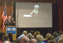Paul Fraughton | Salt Lake Tribune Dan Liljenquist holds a mock debate against Sen. Orin Hatch using a video clip of Hatch Thursday, June 7, 2012 at the Sons of the Utah Pioneers National Headquarters in Salt Lake City.