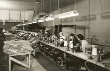 Wagner Bag Com[any hired hundreds of women to sew bags two shifts a day. Some were students attending local colleges and universities. (Circa 1955). Courtesy Don Gale
