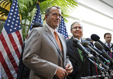 Senate Minority Leader Mitch McConnell of Ky. listens at right as House Speaker John Boehner of Ohio speaks during a news conference on Capitol Hill in Washington, Wednesday, June 6, 2012. (AP Photo/J. Scott Applewhite)