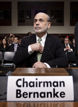 Federal Reserve Board Chairman Ben Bernanke arrives on Capitol Hill in Washington, Thursday, June 7, 2012, to testify before the Joint Economic Committee about the health of nation's economy, the slumping recovery, and the European debt crisis. (AP Photo/J. Scott Applewhite)