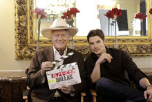 Larry Hagman and Josh Henderson on the set of TNT's new series