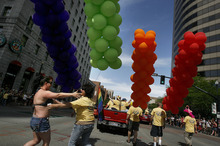 Scott Sommerdorf  |  The Salt Lake Tribune              The annual Gay Pride Parade through downtown Salt Lake City, Sunday, June 3, 2012.