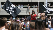 Scott Sommerdorf  |  The Salt Lake Tribune              The parking garage on the north side of 3rd South was packed to watch the annual Gay Pride Parade through downtown Salt Lake City, Sunday, June 3, 2012.