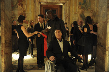 Thierry Valletoux  |  The Weinstein Company Philippe (Francois Cluzet, center) is a quadriplegic who forms a friendship with his caretaker, Driss (Omar Sy), in the French comedy-drama