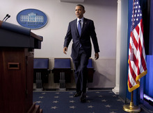 President Barack Obama walks to the podium to talk about the economy, Friday, June 8, 2012, in the briefing room of the White House in Washington. (AP Photo/Carolyn Kaster)