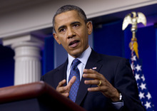 President Barack Obama talks about the economy, Friday, June 8, 2012, in the briefing room of the White House in Washington. (AP Photo/Carolyn Kaster)