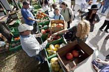Lennie Mahler | Tribune file photo Vendors sell squash, pumpkins, gourds and other vegetables at the 2011 Downtown Farmers Market. This year's market kicks off Saturday at Pioneer Park.