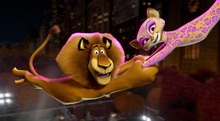This film image released by DreamWorks Animation shows, Alex the Lion, voiced by Ben Stiller, left, and Gia the Jaguar, voiced by Jessica Chastain, in a scene from