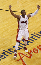 Miami Heat's Dwyane Wade (3) during the first half of Game 5 in their NBA basketball Eastern Conference finals playoffs series against the Boston Celtics, Tuesday, June 5, 2012, in Miami. (AP Photo/Wilfredo Lee)
