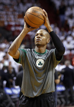 Boston Celtics' Ray Allen warms up before the first half of Game 5 in their NBA basketball Eastern Conference finals playoffs series against the Miami Heat, Tuesday, June 5, 2012, in Miami. (AP Photo/Lynne Sladky)