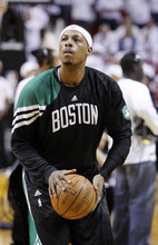 Boston Celtics' Paul Pierce warms up before the first half of Game 5 in their NBA basketball Eastern Conference finals playoffs series against the Miami Heat, Tuesday, June 5, 2012, in Miami. (AP Photo/Lynne Sladky)