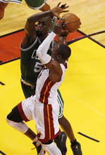 during the second half of Game 5 in their NBA basketball Eastern Conference finals playoffs series, Tuesday, June 5, 2012, in Miami. (AP Photo/Wilfredo Lee)