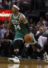 Boston Celtics' Paul Pierce (34) runs during the first half of Game 5 in their NBA basketball Eastern Conference finals playoffs series against the Miami Heat, Tuesday, June 5, 2012, in Miami. (AP Photo/Lynne Sladky)