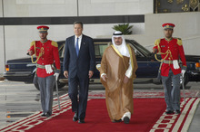 Courtesy photo. U.S. Ambassador Matthew Tueller walks with the chief of royal protocol in Kuwait City.