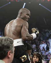 Timothy Bradley, from Palm Springs, Calif., reacts to his split decision victory over Manny Pacquiao, from the Philippines, in their WBO world welterweight title fight Saturday, June 9, 2012, in Las Vegas. (AP Photo/Julie Jacobson)