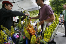 Scott Sommerdorf  |  The Salt Lake Tribune              A customer is served at the Happy Trowels flower booth from Ogden at the opening Saturday of the Salt Lake Farmers Market, Saturday, June 9, 2012.