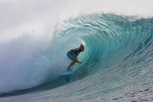 Owen Wright of Lennox Head, NSW, Australia (pictured) took a narrow second place to Kelly Slater (USA) during their round four clash in draining four-to-six foot (1.5 – 2 metre) waves at Restaurants, Tavarua, Fiji on Saturday June 9, 2012. Wright posted a pair of excellent scoring rides, an 8.50 and a 9.40 (both out of ten) but they were still not enough to defeat the 11X ASP World Champion who won the heat with a perfect 10.00 and an 8.83.  (AP Photo/Kirstin Scholtz, ASP)