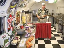 Tom Wharton  |  The Salt Lake Tribune Mark Gudenas pops popcorn in the Snack Shack Airstream trailer, part of the Shooting Star Drive-in near Escalante.