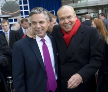 Al Hartmann  |  Tribune file photo Former Utah Gov. Jon Huntsman, left, with his father, Jon M. Huntsman Sr., who gave $2.25 million to a super PAC to help his son's presidential campaign. Huntsman Jr.'s campaign is more than $5 million debt, according to the latest FEC report.