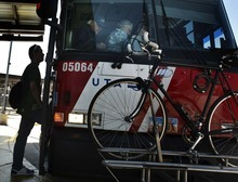 Leah Hogsten  |  The Salt Lake Tribune Riders board the 902 UTA bus from Salt Lake City to Park City on Friday. The direct service launched last year is falling far short of the goal of breaking even, with ridership averaging 38 percent in the best month and 18 percent in the worst. That compares to a 90 percent ridership needed to break even.