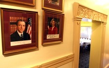 Rick Egan  | The Salt Lake Tribune   A photo of Sen. Orrin Hatch, R-Utah, hangs in the hallway of The Monocle, the Utahn's favorite spot for fundraising events. He's had more than two dozen in recent months and two more set before the June 26 primary.