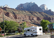 Al Hartmann  |  The Salt Lake Tribune  RV turns onto Zion Park Blvd. in Sprigdale to enter Zion National Park Monday June 11.   A Utah state audit says that Springdale police were illegally collecting money from foreign tourists and some of the cash is missing.
