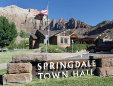 Al Hartmann  |  The Salt Lake Tribune  Springdale Town Hall also houses the town's police department.   A Utah state audit says that Springdale police were illegally collecting money from foreign tourists and some of the cash is missing.