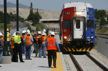 Francisco Kjolseth  |  The Salt Lake Tribune The first FrontRunner train arrives in Utah County at the Lehi Station on Monday, June 11, 2012, marking the beginning of the testing process of the new commuter rail line that links Provo to Salt Lake City.