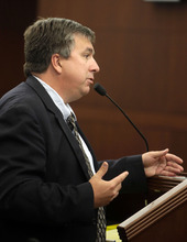 Michael Studebaker, attorney for some alleged Ogden Trece gang members, agues during a hearing about a gang injunction for the Ogden Trece gang at the Second District Court in Ogden Monday, June 11, 2012.(Pool Photo MATTHEW ARDEN HATFIELD)