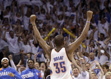 Oklahoma City Thunder small forward Kevin Durant (35) celebrates against the San Antonio Spurs during the second half of Game 6 in the NBA basketball Western Conference finals, Wednesday, June 6, 2012, in Oklahoma City. The Thunder won 107-99. (AP Photo/Eric Gay)