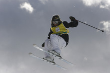 In this March 12, 2008 file photo, Sarah Burke of Canada is airborne as she competes in the women's halfpipe freestyle event at the World Cup finals in Valmalenco, Italy. Burke died from head injuries suffered during a Jan. 10 fall at the superpipe at Park City Mountain Resort on Jan. 10. (AP Photo/Giovanni Auletta, File)