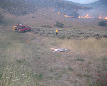 Firefighters had the brush blaze in the Centerville foothills well in hand Tuesday. (Centerville police photo).