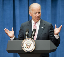 Vice President Joe Biden address an audience at Wake Forest Biotech Place in Winston-Salem, N.C., Wednesday, June 6, 2012. Biden was highlighting the Obama administration's efforts to bring manufacturing jobs back to America. (AP Photo/Winston-Salem Journal, Walt Unks)