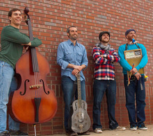 Courtesy photo Steve Itterly & Friends' (left to right) Tobin Caldwell, bass; Steve Itterly, steel guitar and vocals; Roger Hart, harmonica; and Taylor Replane, washboard and banjo; will perform Delta/country blues in the 9th & 9th Concerts series Saturday, June 16.