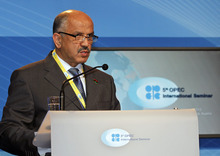 Libya's Minister of Oil and Gas, Abdurahman Benyezza , delivers a to a speech during the Organization of the Petroleum Exporting Countries, OPEC, seminar at Vienna's Hofburg palace, Austria, on Wednesday, June 13, 2012. (AP Photo/Ronald Zak)