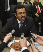 Qatar's Minister of Energy and Industry Mohammed Bin Saleh Al-Sada speaks to journalists prior to the start of the meeting of the Organization of the Petroleum Exporting Countries, OPEC, at their headquarters in Vienna, Austria, on Thursday, June 14, 2012. The meeting of the 12 oil ministers of the OPEC focuses on price and production targets. (AP Photo/Ronald Zak)