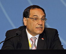 Iraq's Minister of Oil , Abdul-Kareem Luaibi Bahedh delivers a speech during the Organization of the Petroleum Exporting Countries, OPEC, seminar at Vienna's Hofburg palace, Austria, on Wednesday, June 13, 2012. (AP Photo/Ronald Zak)