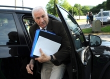 Former Penn State University assistant football coach Jerry Sandusky arrives for the fourth day of his trial at the Centre County Courthouse in Bellefonte, Pa., Thursday, June 14, 2012.  Sandusky faces 52 counts of child sex-abuse  involving 10 boys over a 15-year span.  (AP Photo/Centre Daily Times, Nabil K. Mark)