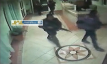 In this frame grab taken from video filmed by a surveillance camera on Jan 20, 2012, and released by the Jalisco state prosecutors' office on June 14, 2012, police officers enter a hotel before escorting out three men in their underwear with their hands tied behind their backs and some blindfolded in Lagos de Moreno, Mexico. The men later were found asphyxiated and beaten to death. Jalisco prosecutors' spokesman Lino Gonzalez said Thursday June 14, 2012 that five officers, their commander and the local police chief in Lagos de Moreno have been detained pending charges. (AP Photo/Jalisco state prosecutors' office)